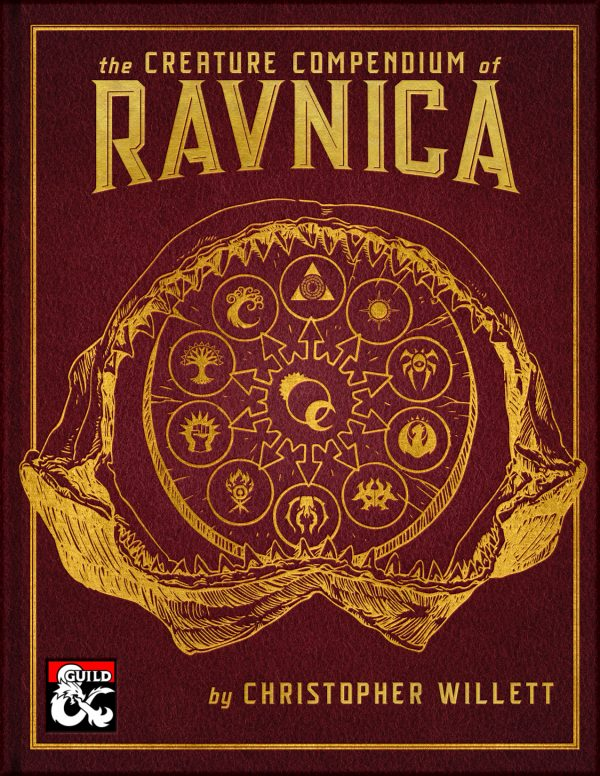 The cover of The Creature Compendium of Ravnica depicts a fossilized sharktopus jaw clamping down on a circular stone with the Guildpact icons etches onto it.